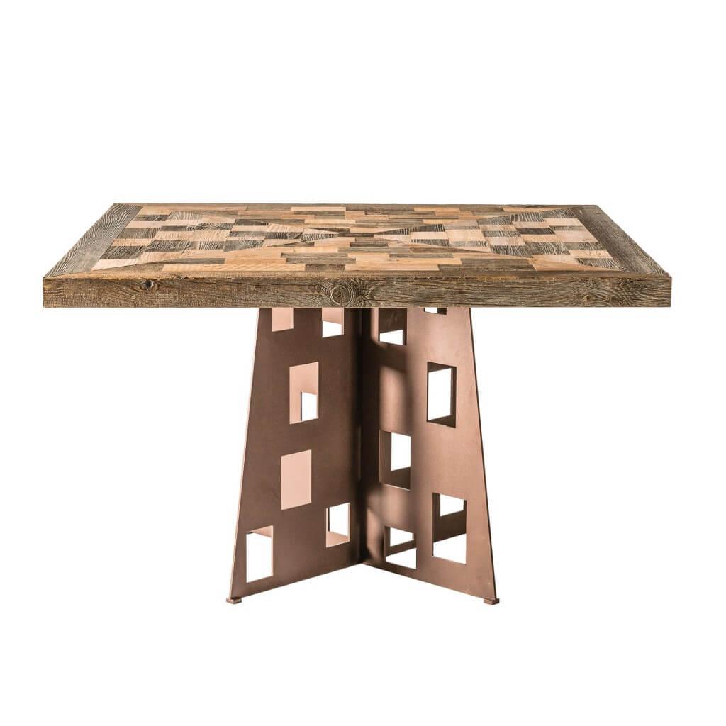 <p>Un tavolo di grande impatto visivo dato dal contrasto tra due materiali, il legno e il metallo, dalla natura e dalla sostanza completamente differenti: caldo e freddo, liscio e ruvido. Il tavolo Federa è caratterizzato da un gioco di forme geometriche, a partire dalle intagliature rettangolari nella base in metallo, passando per il gioco di […]</p>