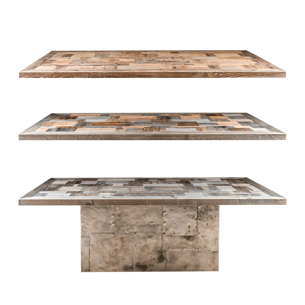 <p>Un tavolo dal fascino massiccio, che risponde appieno al nostro ideale di bellezza: un oggetto bello che non solo colpisce, ma che resta indelebile nei nostri ricordi. Il Tavolo Lagazuoi ha un grande piano a forme, costituito da pezzetti di legno pregiato, che poggia su una preziosa base in ferro battuto. La base in ferro [&hellip;]</p>